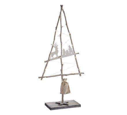 Sapin de Noël déco en bois sur pied lumineux à led 72cm