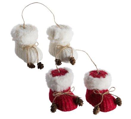 Lot de 2 paires de bottes de noël à accrocher avec ficelle et pomme de pin