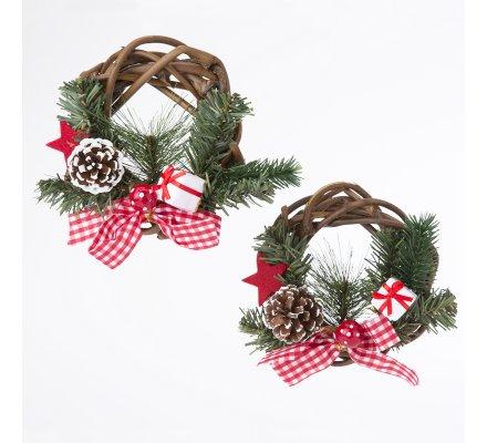 Lot de 2 couronnes de Noël en rotin tressé avec décoration 15cm