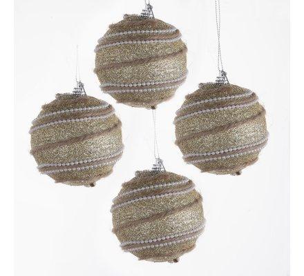 Lot de 4 boules de Noël dorées avec ficelles et perles
