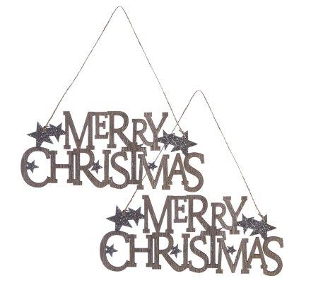 """Lot de 2 suspensions en bois """"Merry Christmas"""" avec étoiles paillettes et ficelle"""