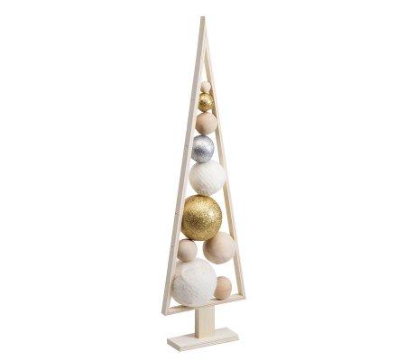 Arbre de Noël nature design en bois sur pied avec boules déco 70cm