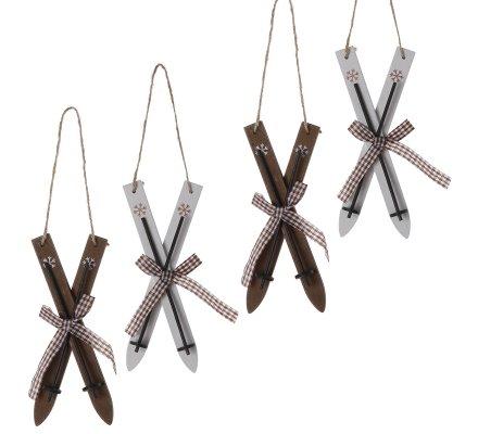 Lot de 4 sujets de Noël à accrocher skis en bois marron et blanc 16cm