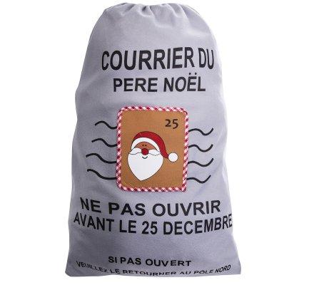 Grand sac pour cadeaux, hotte du père noël avec annotation humoristique coloris gris