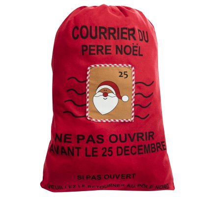 Grand sac pour cadeaux, hotte du père noël avec annotation humoristique coloris rouge