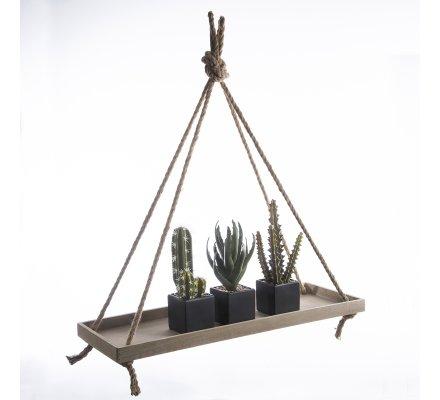 Etagère design en bois à suspendre avec corde H87cm x L80cm x l28cm