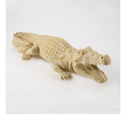 Crocodile déco en résine intérieur ou extérieur coloris beige L60cm x l21cm x H12cm