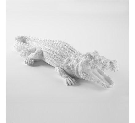 Crocodile déco en résine intérieur ou extérieur coloris blanc L60cm x l21cm x H12cm