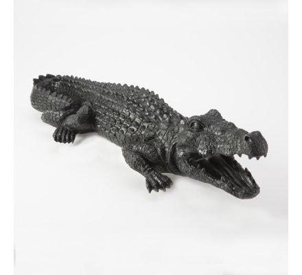 Crocodile déco en résine intérieur ou extérieur coloris noir L60cm x l21cm x H12cm