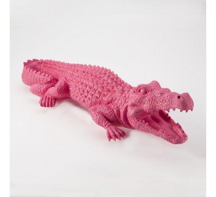 Crocodile déco en résine intérieur ou extérieur coloris rose L60cm x l21cm x H12cm