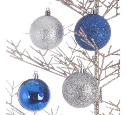 Coffret 16 boules de Noël argent et bleu marine