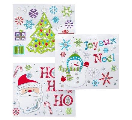 Lots de 3 planches de stickers Noël motifs variés 30x30cm