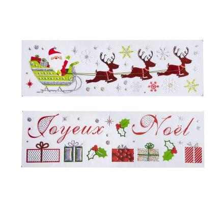 Lot de 2 planches de stickers Noël motifs variés 16x50cm