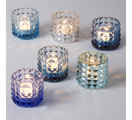Lot de 6 photophores design en verre assortiment bleu et argent 7cm