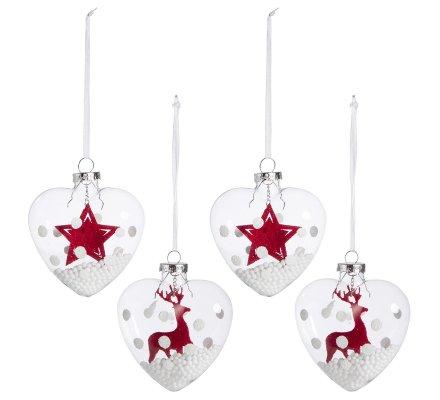 Lot de 4 coeurs décoration de noël à suspendre en verre avec étoile et renne en suspension