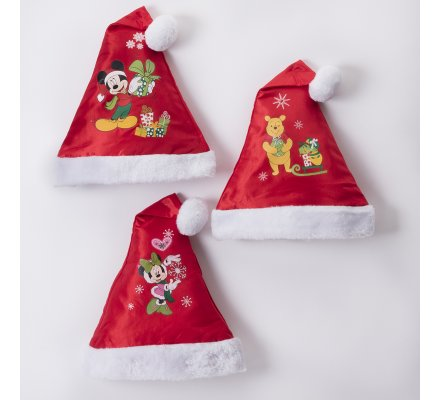 Lot de 3 bonnets de noël Disney motifs Mickey, Minnie et Winnie l'ourson