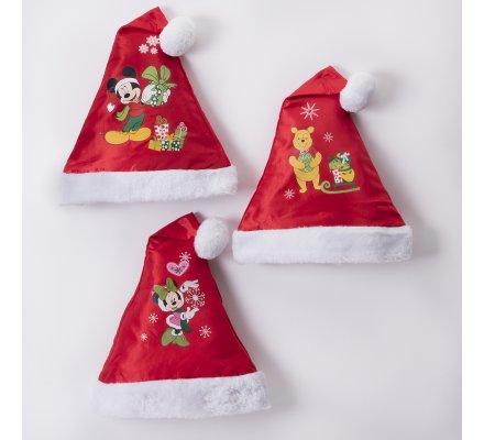 Lot de 3 bonnets de noël Disney motifs Mickey, Minnie et Winnie l'ourson