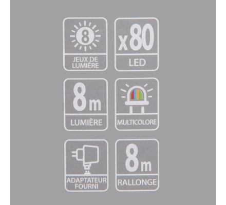 Guirlande lumineuse 80 Led longueur 8m avec jeux de lumière multicolore