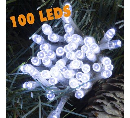 Guirlande lumineuse 100 Led longueur 10m avec jeux de lumière blanc froid
