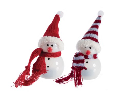 Lot de 2 bonhommes de neige déco à Led couleur changeante 14cm