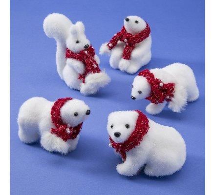 Lot de 4 ours et 1 ecureuil figurine déco Noël avec écharpe rouge 10cm