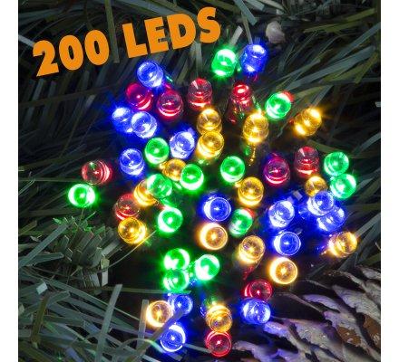 Guirlande lumineuse 200 Led longueur 10m avec jeux de lumière multicolore