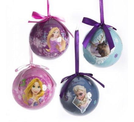 Lot de 4 boules de Noël déco sapin Disney la Reine des neiges Anna