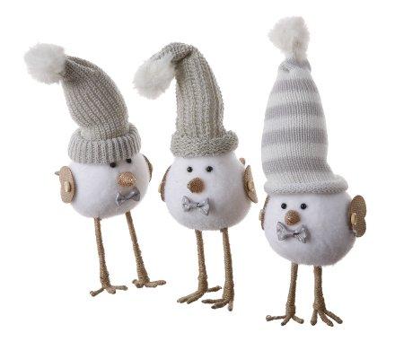 Lot de 3 oiseaux en mousse avec bonnets décoration de Noël 21cm