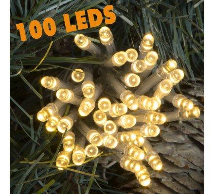 Guirlande lumineuse 100 Led longueur 10m avec jeux de lumière blanc chaud