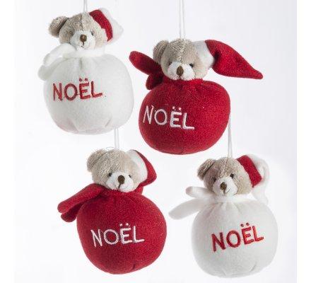 Lot de 4 boules de noël peluche ourson rouge et blanc à suspendre au sapin