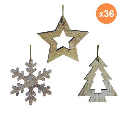 Lot de 36 decorations de noël nature en bois à suspendre motif flocon, étoile et sapin