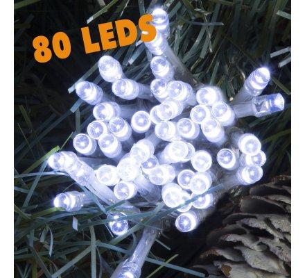 Guirlande lumineuse 80 Led longueur 8m avec jeux de lumière blanc froid