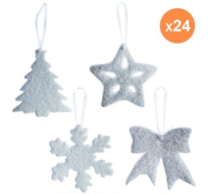 Lot de 24 suspensions de noël à accrocher forme noeud, étoile, sapin et flocon