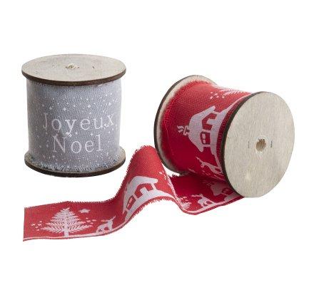 Lot de 2 rouleaux guirlande de Noël en tissu gris et rouge 300cm