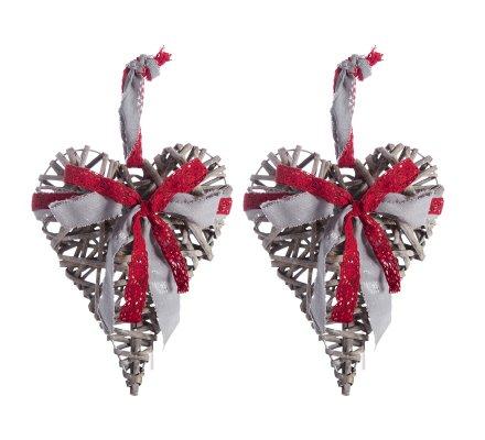 Lot de 2 coeurs en rotin avec ruban tissu rouge et gris à suspendre