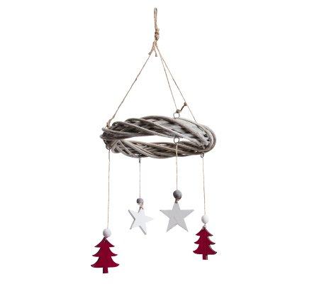 Couronne en rotin à suspendre avec ficelle et décorations en bois étoile et sapin en suspension