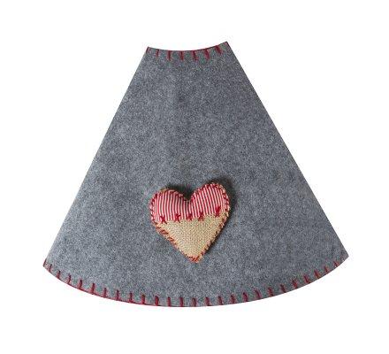 Jupe de sapin, couvre-pied gris et coeur cottage 85cm