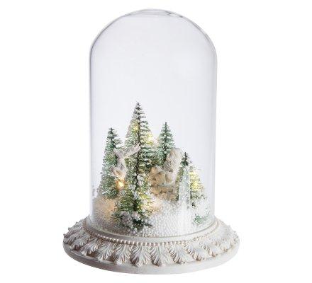 Globe en verre scéne de Noël lumineuse à Led avec neige artificielle 23cm
