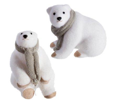 Lot de 2 ours blanc déco Noël en mousse avec écharpe grise 24cm