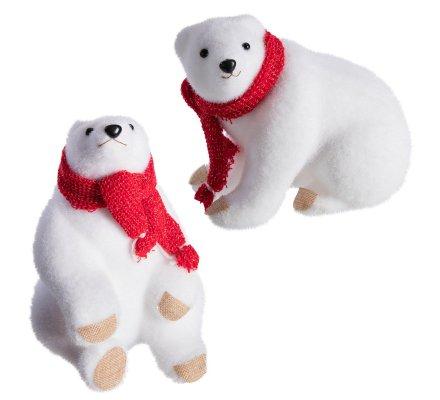 Lot de 2 ours blanc déco Noël en mousse avec écharpe rouge 24cm