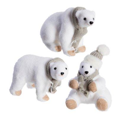 Lot de 3 ours blanc déco Noël en mousse avec écharpe grise 24cm