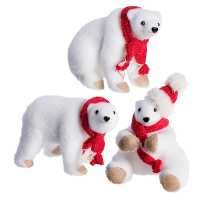 Lot de 3 ours blanc déco Noël en mousse avec écharpe rouge 24cm