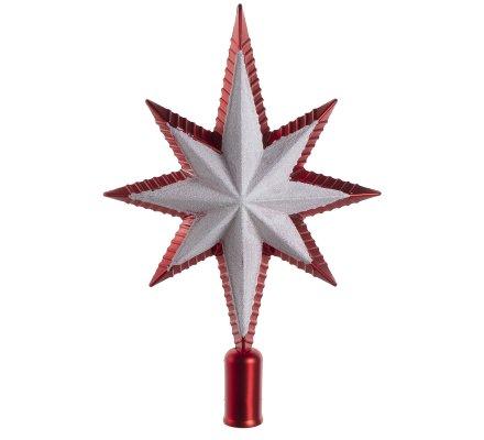 Cimier de sapin de Noël étoile 8 branches Rouge et argent