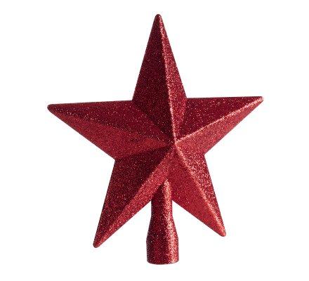 Cimier de sapin de noël étoile rouge pailletée