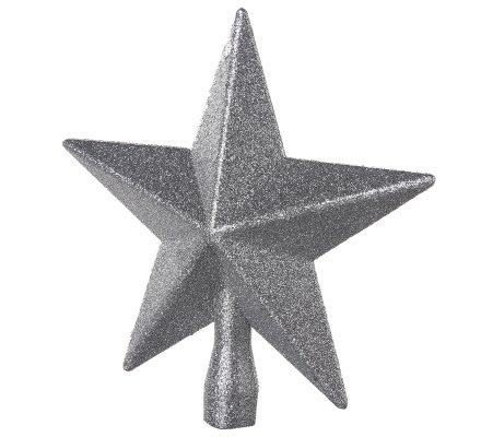 Cimier de sapin de noël étoile argent pailletée