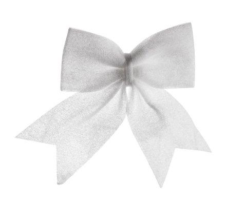 Noeud blanc à accrocher décoration sapin de Noël 30cm