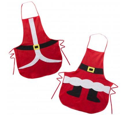 Lot de 2 tabliers de Noël 2 assortiments Père Noël et Mère Noël