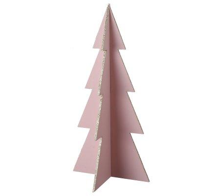 Sapin de Noël déco en bois coloris rose H39cm