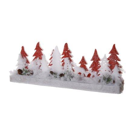 Décoration scène de Noël en bois et mousse sapin blanc et rouge L40cm