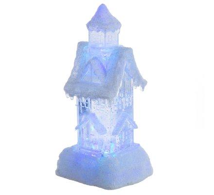 Décoration de Noël maison à neige avec LED couleurs changeantes H25cm